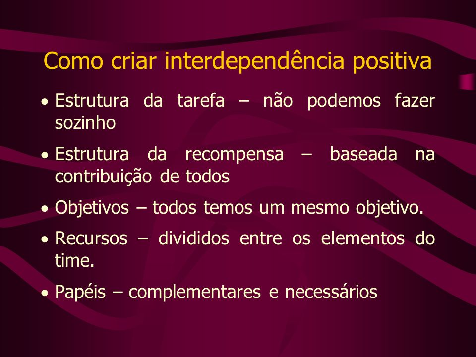 Como criar interdependência positiva Estrutura da tarefa – não podemos fazer sozinho Estrutura da recompensa – baseada na contribuição de todos Objetivos – todos temos um mesmo objetivo.