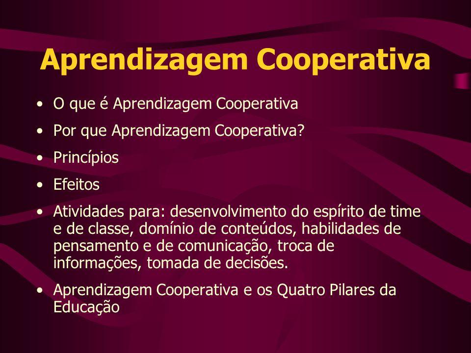 Aprendizagem Cooperativa O que é Aprendizagem Cooperativa Por que Aprendizagem Cooperativa.