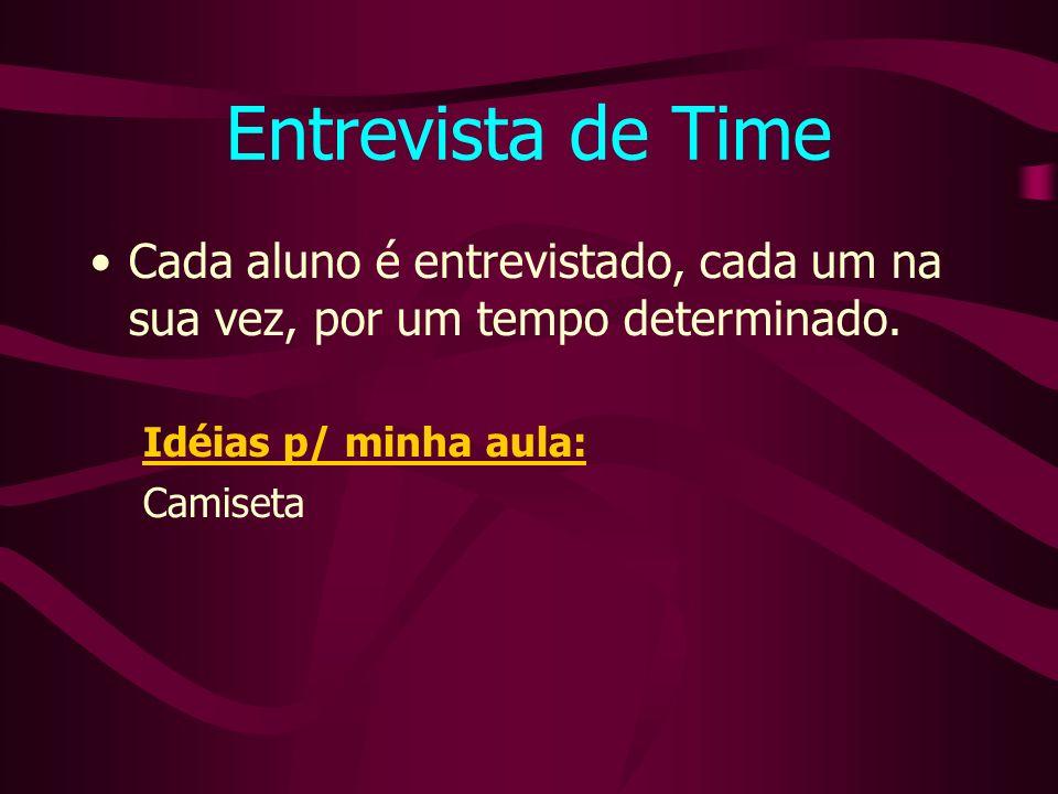 Entrevista de Time Cada aluno é entrevistado, cada um na sua vez, por um tempo determinado.