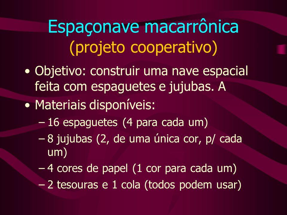 Espaçonave macarrônica (projeto cooperativo) Objetivo: construir uma nave espacial feita com espaguetes e jujubas.