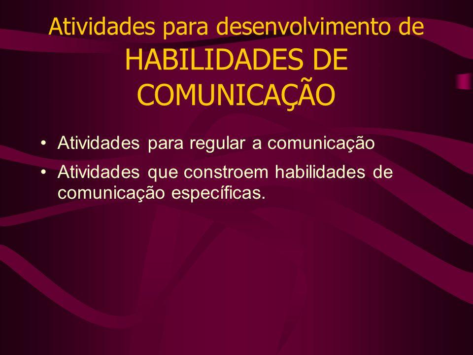 Atividades para desenvolvimento de HABILIDADES DE COMUNICAÇÃO Atividades para regular a comunicação Atividades que constroem habilidades de comunicação específicas.