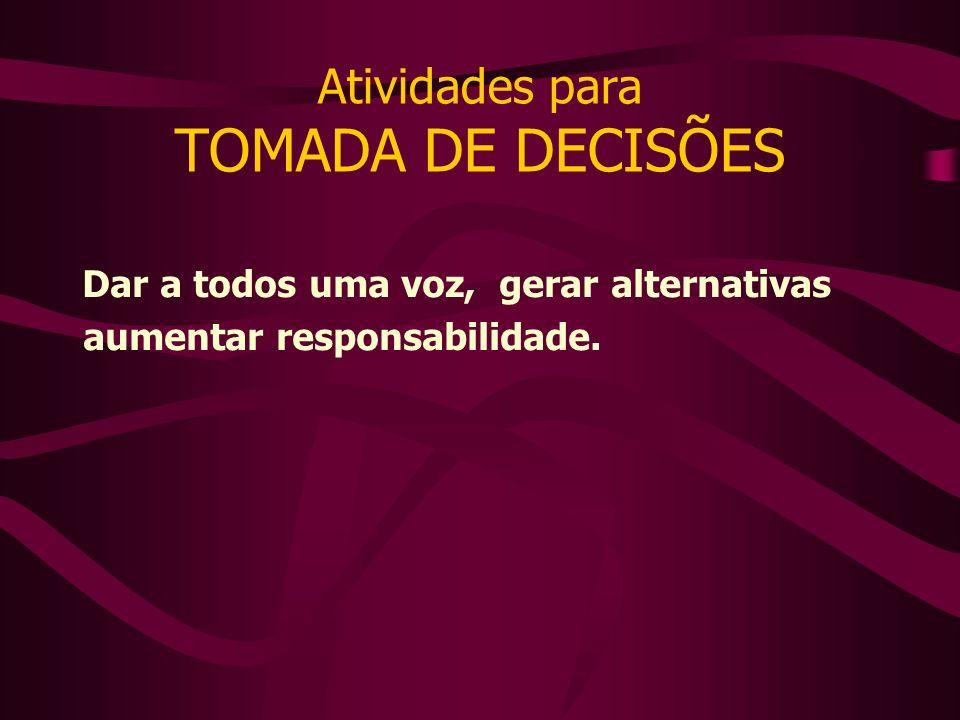 Atividades para TOMADA DE DECISÕES Dar a todos uma voz, gerar alternativas aumentar responsabilidade.