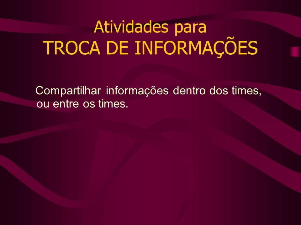 Atividades para TROCA DE INFORMAÇÕES Compartilhar informações dentro dos times, ou entre os times.