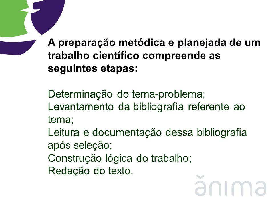 A preparação metódica e planejada de um trabalho científico compreende as seguintes etapas: Determinação do tema-problema; Levantamento da bibliografi