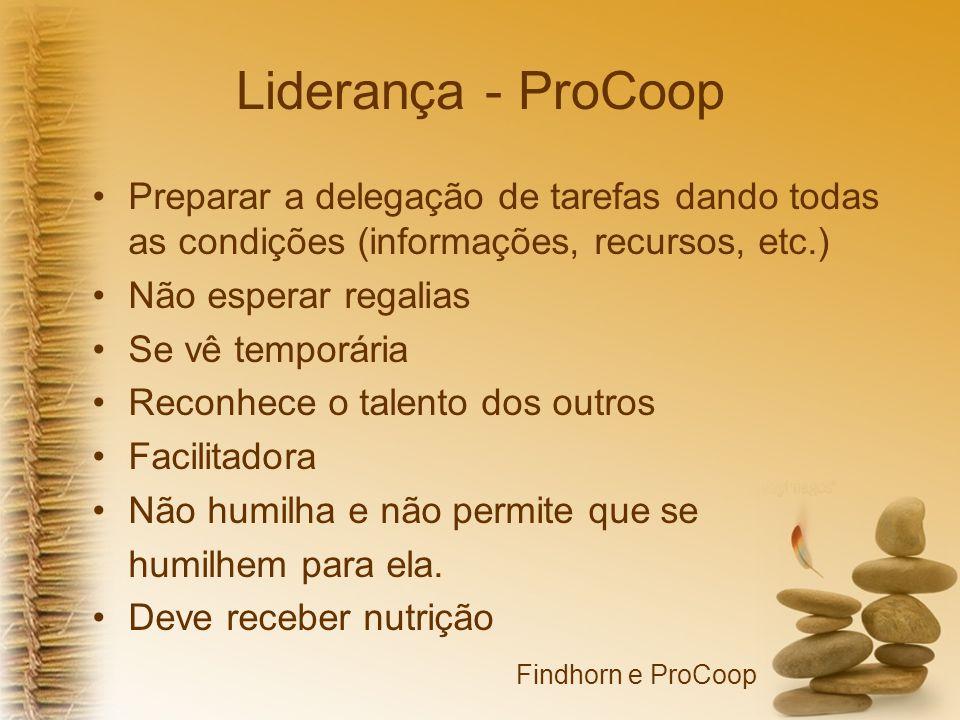 Liderança - ProCoop Preparar a delegação de tarefas dando todas as condições (informações, recursos, etc.) Não esperar regalias Se vê temporária Recon