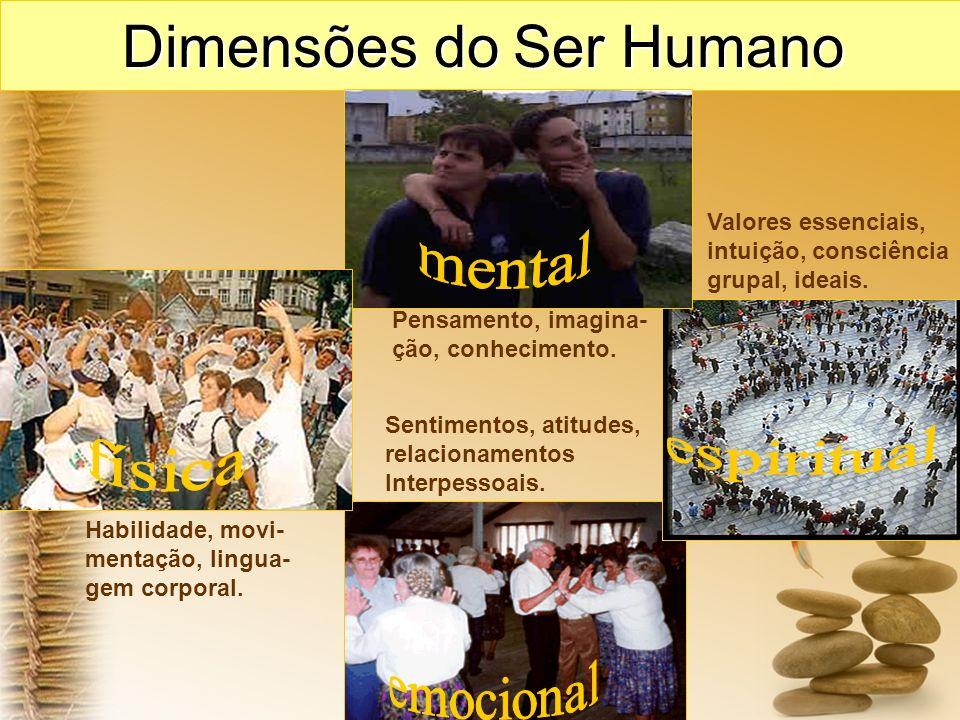 Dimensões do Ser Humano Habilidade, movi- mentação, lingua- gem corporal. Sentimentos, atitudes, relacionamentos Interpessoais. Pensamento, imagina- ç