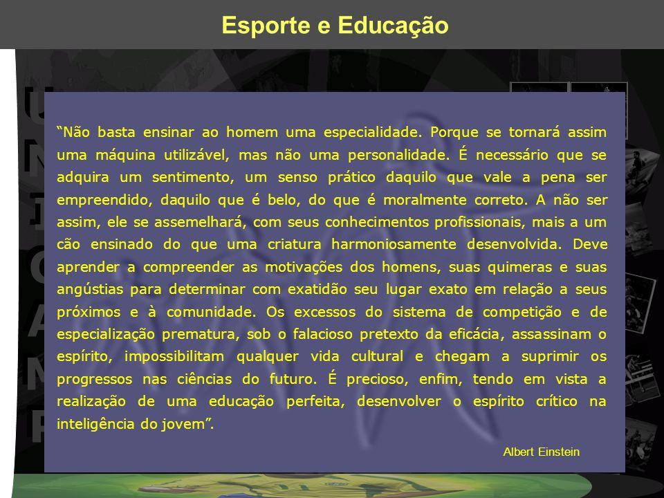 UNICAMPUNICAMP UNICAMPUNICAMP Esporte e Educação Não basta ensinar ao homem uma especialidade. Porque se tornará assim uma máquina utilizável, mas não