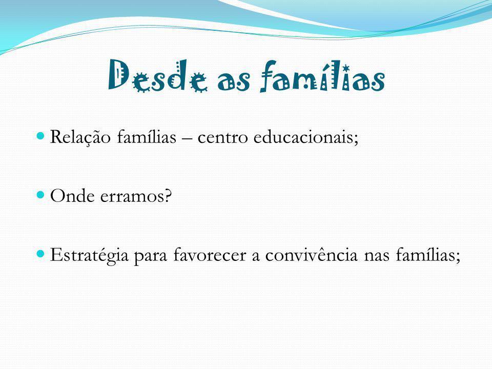 Relação famílias – centro educacionais; Onde erramos? Estratégia para favorecer a convivência nas famílias;