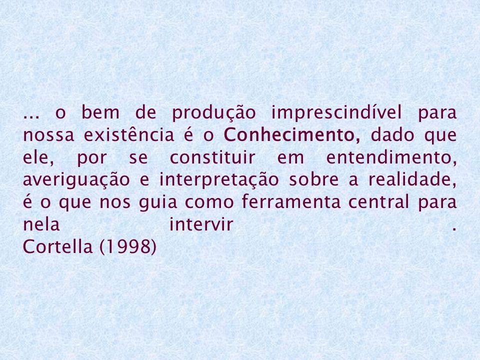 ... o bem de produção imprescindível para nossa existência é o Conhecimento, dado que ele, por se constituir em entendimento, averiguação e interpreta