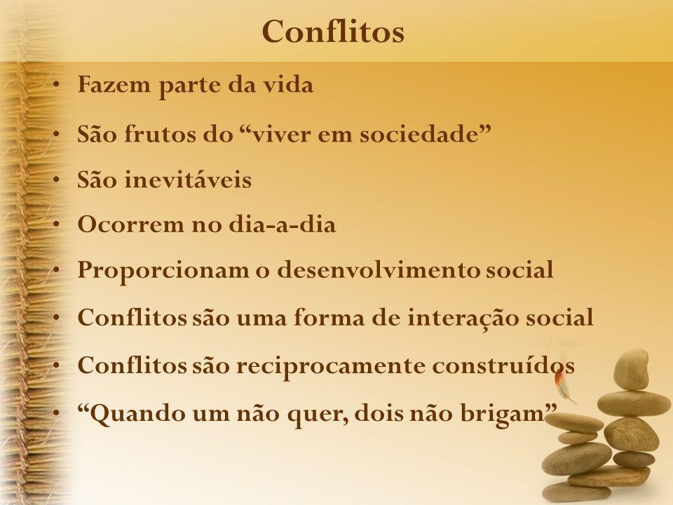 Conflitos Fazem parte da vida São frutos do viver em sociedade São inevitáveis Ocorrem no dia-a-dia Proporcionam o desenvolvimento social Conflitos sã