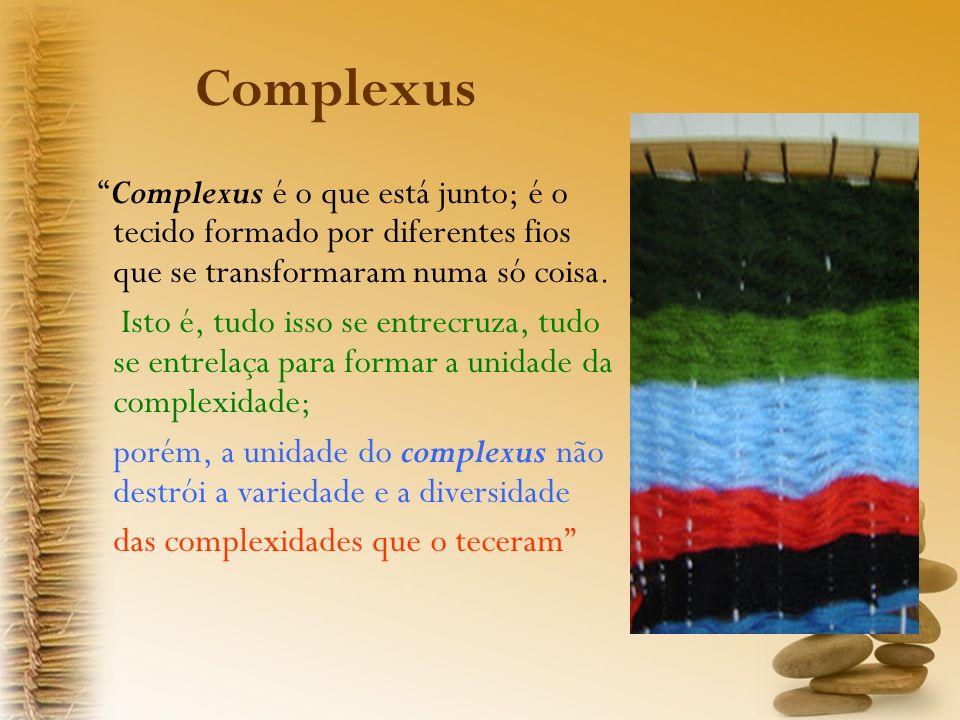 Complexus Complexus é o que está junto; é o tecido formado por diferentes fios que se transformaram numa só coisa.