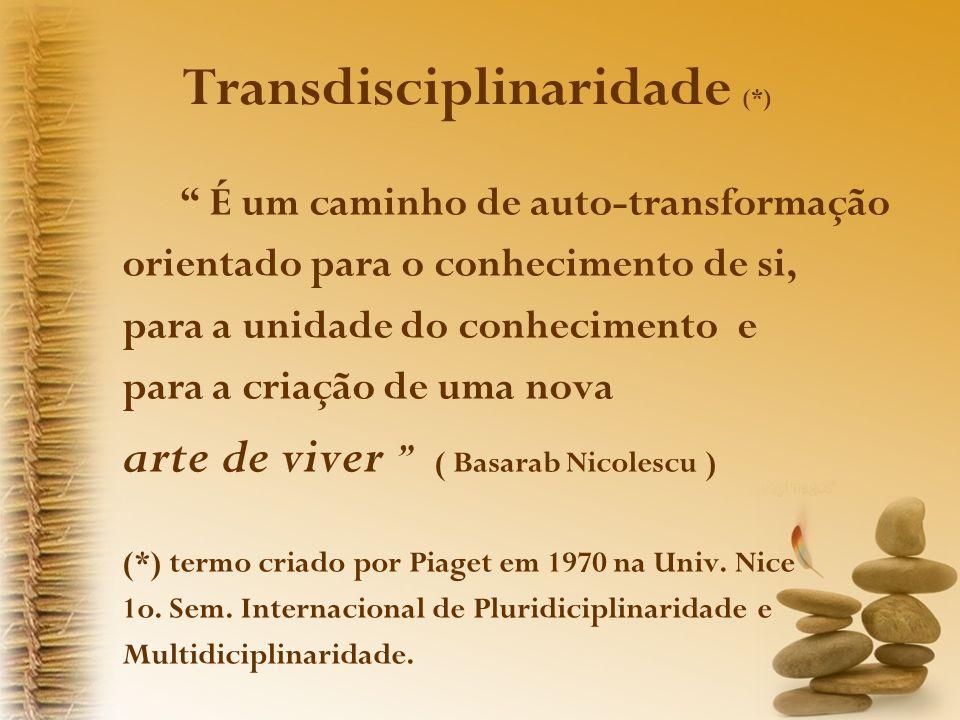 Transdisciplinaridade (*) É um caminho de auto-transformação orientado para o conhecimento de si, para a unidade do conhecimento e para a criação de uma nova arte de viver ( Basarab Nicolescu ) (*) termo criado por Piaget em 1970 na Univ.