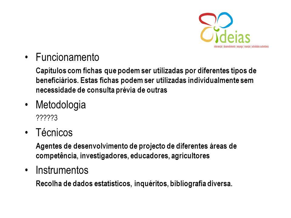 Funcionamento Capítulos com fichas que podem ser utilizadas por diferentes tipos de beneficiários.