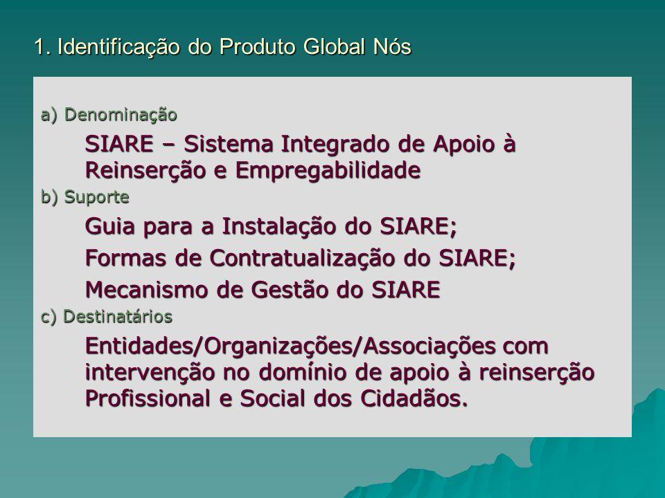 1. Identificação do Produto Global Nós a) Denominação SIARE – Sistema Integrado de Apoio à Reinserção e Empregabilidade b) Suporte Guia para a Instala