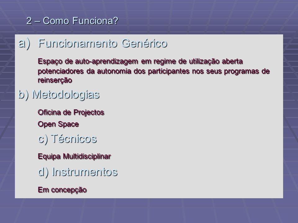 2 – Como Funciona? a) Funcionamento Genérico Espaço de auto-aprendizagem em regime de utilização aberta potenciadores da autonomia dos participantes n