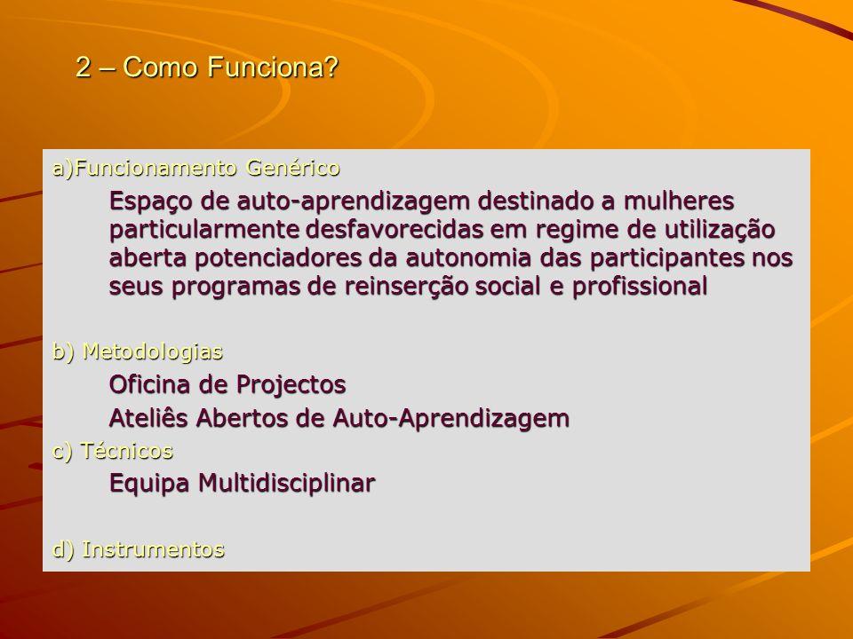 2 – Como Funciona? a)Funcionamento Genérico Espaço de auto-aprendizagem destinado a mulheres particularmente desfavorecidas em regime de utilização ab