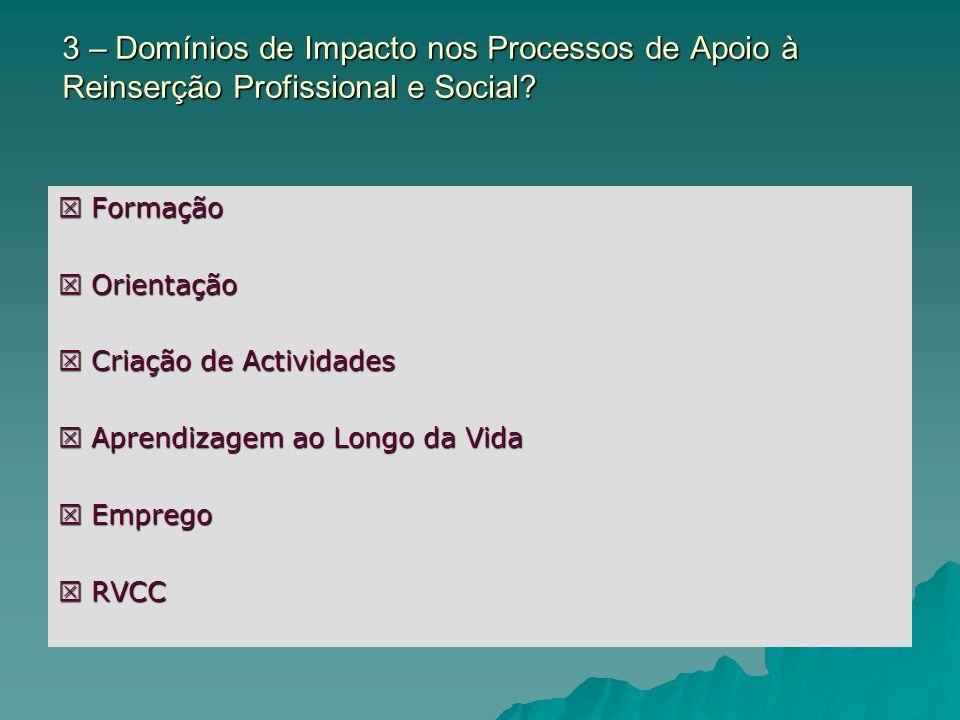 3 – Domínios de Impacto nos Processos de Apoio à Reinserção Profissional e Social? Formação Formação Orientação Orientação Criação de Actividades Cria