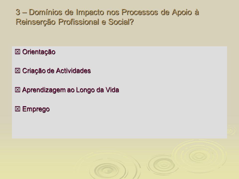 3 – Domínios de Impacto nos Processos de Apoio à Reinserção Profissional e Social? Orientação Orientação Criação de Actividades Criação de Actividades
