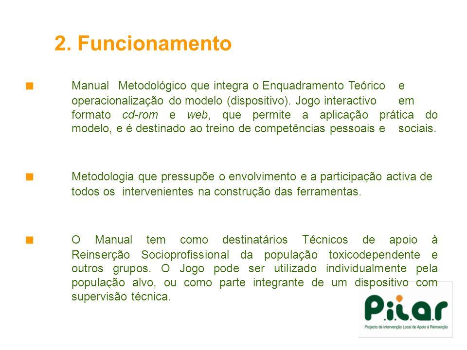 2. Funcionamento Manual Metodológico que integra o Enquadramento Teórico e operacionalização do modelo (dispositivo). Jogo interactivo em formato cd-r