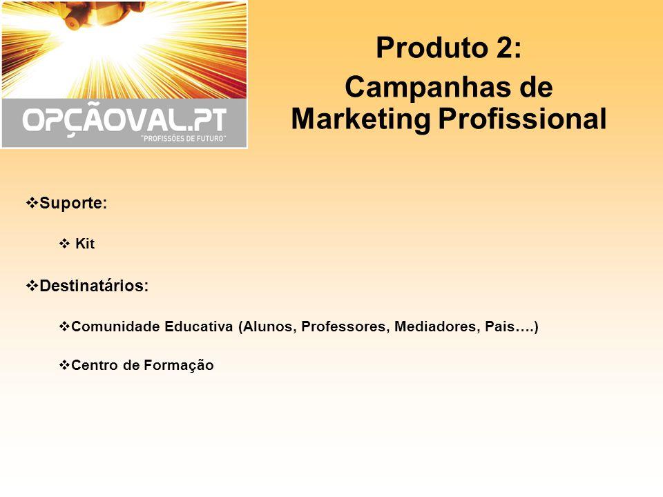 Produto 2: Campanhas de Marketing Profissional Suporte: Kit Destinatários: Comunidade Educativa (Alunos, Professores, Mediadores, Pais….) Centro de Fo