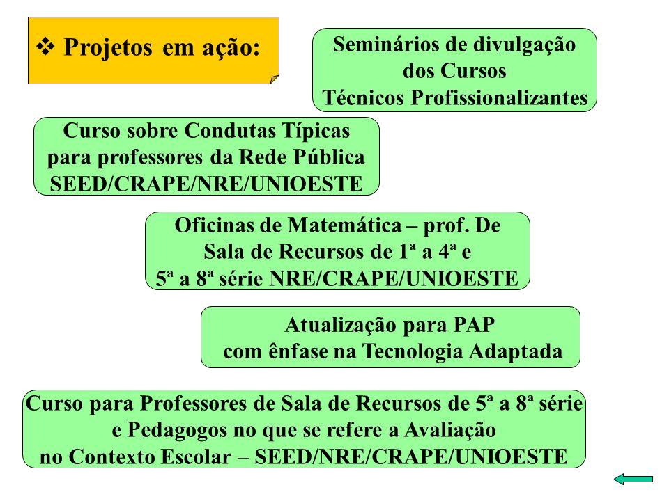 Projetos em ação: Seminários de divulgação dos Cursos Técnicos Profissionalizantes Curso para Professores de Sala de Recursos de 5ª a 8ª série e Pedagogos no que se refere a Avaliação no Contexto Escolar – SEED/NRE/CRAPE/UNIOESTE Curso sobre Condutas Típicas para professores da Rede Pública SEED/CRAPE/NRE/UNIOESTE Atualização para PAP com ênfase na Tecnologia Adaptada Oficinas de Matemática – prof.