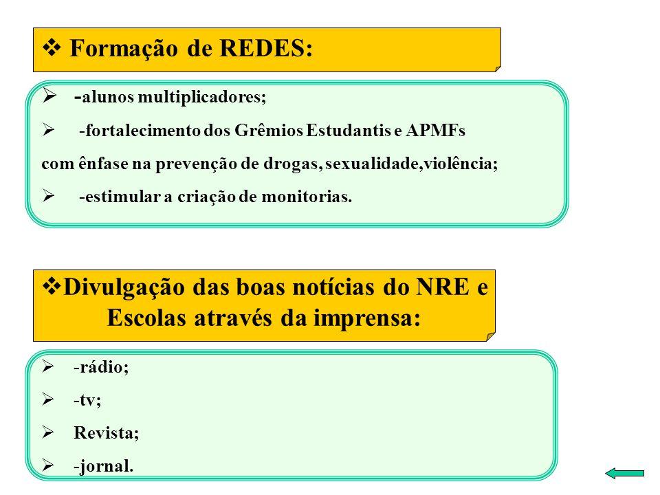 -rádio; -tv; Revista; -jornal. - alunos multiplicadores; -fortalecimento dos Grêmios Estudantis e APMFs com ênfase na prevenção de drogas, sexualidade