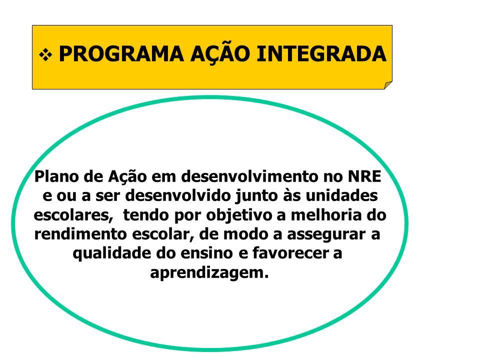 PROGRAMA AÇÃO INTEGRADA Plano de Ação em desenvolvimento no NRE e ou a ser desenvolvido junto às unidades escolares, tendo por objetivo a melhoria do