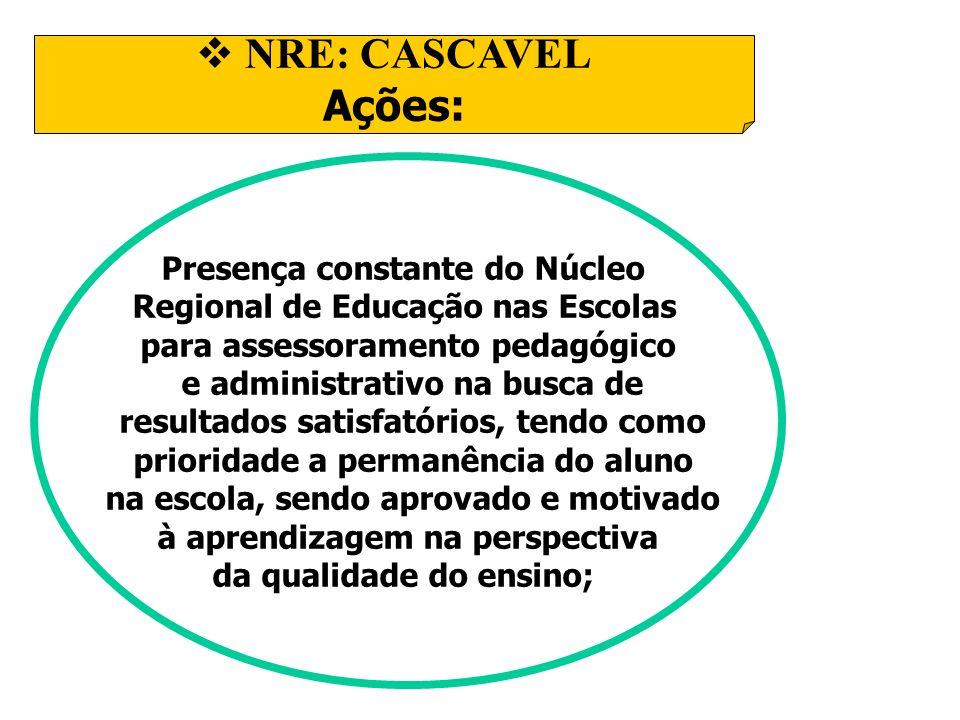 NRE: CASCAVEL Ações: Presença constante do Núcleo Regional de Educação nas Escolas para assessoramento pedagógico e administrativo na busca de resulta