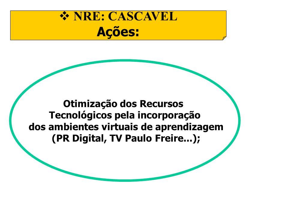 NRE: CASCAVEL Ações: Otimização dos Recursos Tecnológicos pela incorporação dos ambientes virtuais de aprendizagem (PR Digital, TV Paulo Freire...);
