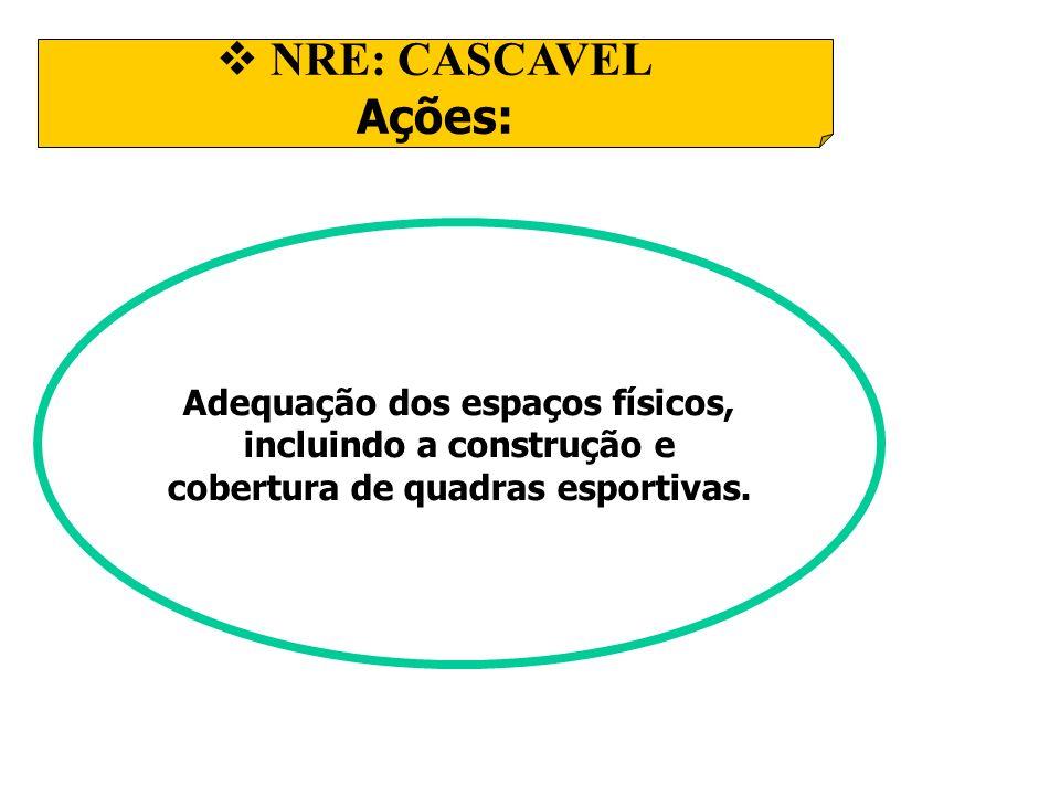 NRE: CASCAVEL Ações: Adequação dos espaços físicos, incluindo a construção e cobertura de quadras esportivas.