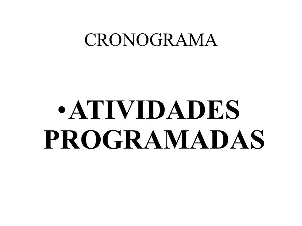 CRONOGRAMA ATIVIDADES PROGRAMADASATIVIDADES PROGRAMADAS ATIVIDADES PROGRAMADASATIVIDADES PROGRAMADAS