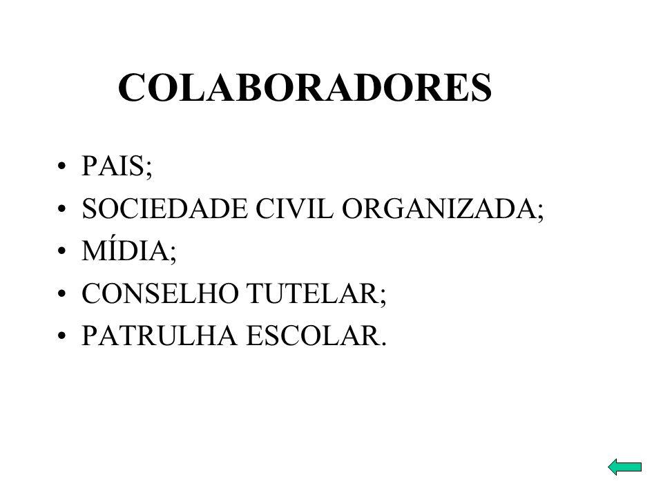 PAIS; SOCIEDADE CIVIL ORGANIZADA; MÍDIA; CONSELHO TUTELAR; PATRULHA ESCOLAR. COLABORADORES