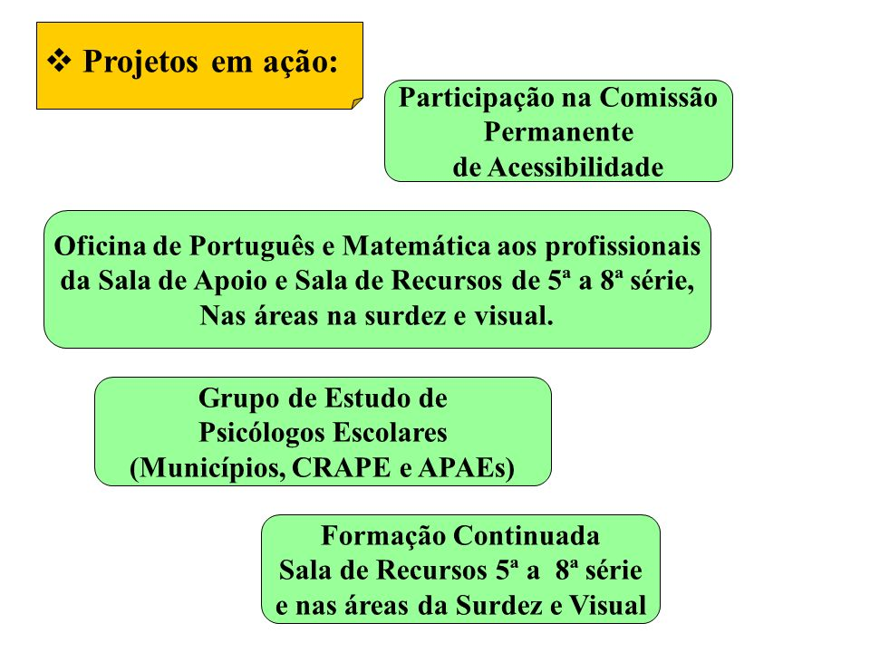 Projetos em ação: Oficina de Português e Matemática aos profissionais da Sala de Apoio e Sala de Recursos de 5ª a 8ª série, Nas áreas na surdez e visual.