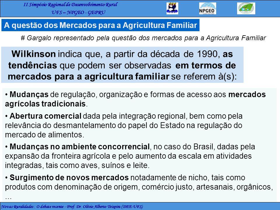 II Simpósio Regional de Desenvolvimento Rural UFS – NPGEO - GEPRU Novas Ruralidades : O debate recente - Prof. Dr. Olívio Alberto Teixeira (DEE-UFS) A