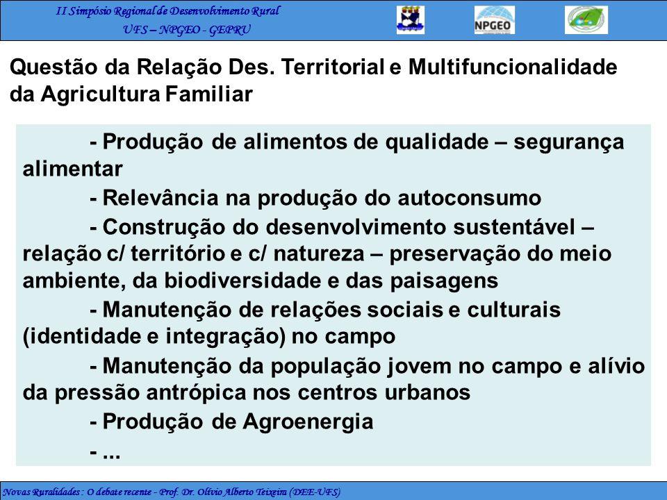 II Simpósio Regional de Desenvolvimento Rural UFS – NPGEO - GEPRU Novas Ruralidades : O debate recente - Prof. Dr. Olívio Alberto Teixeira (DEE-UFS) -