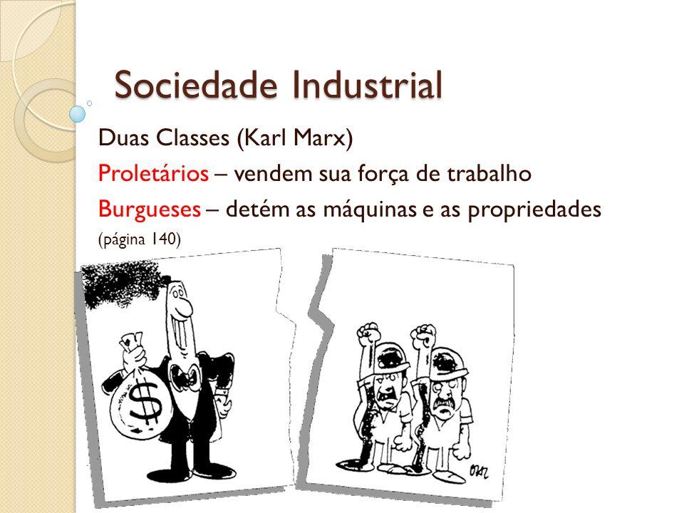 Sociedade Industrial Duas Classes (Karl Marx) Proletários – vendem sua força de trabalho Burgueses – detém as máquinas e as propriedades (página 140)