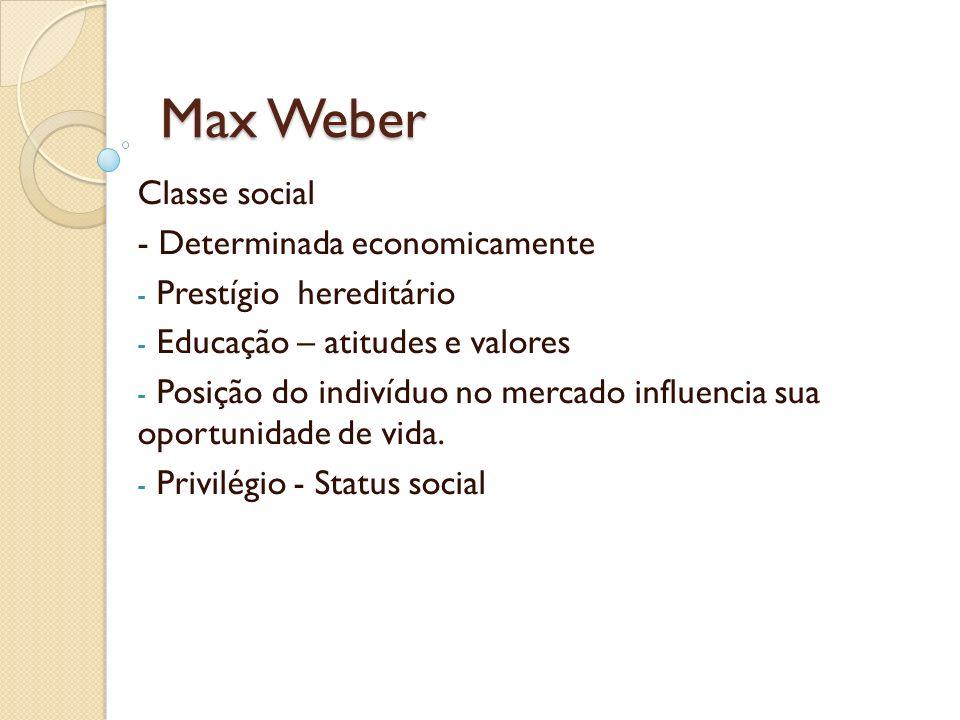 Max Weber Classe social - Determinada economicamente - Prestígio hereditário - Educação – atitudes e valores - Posição do indivíduo no mercado influen