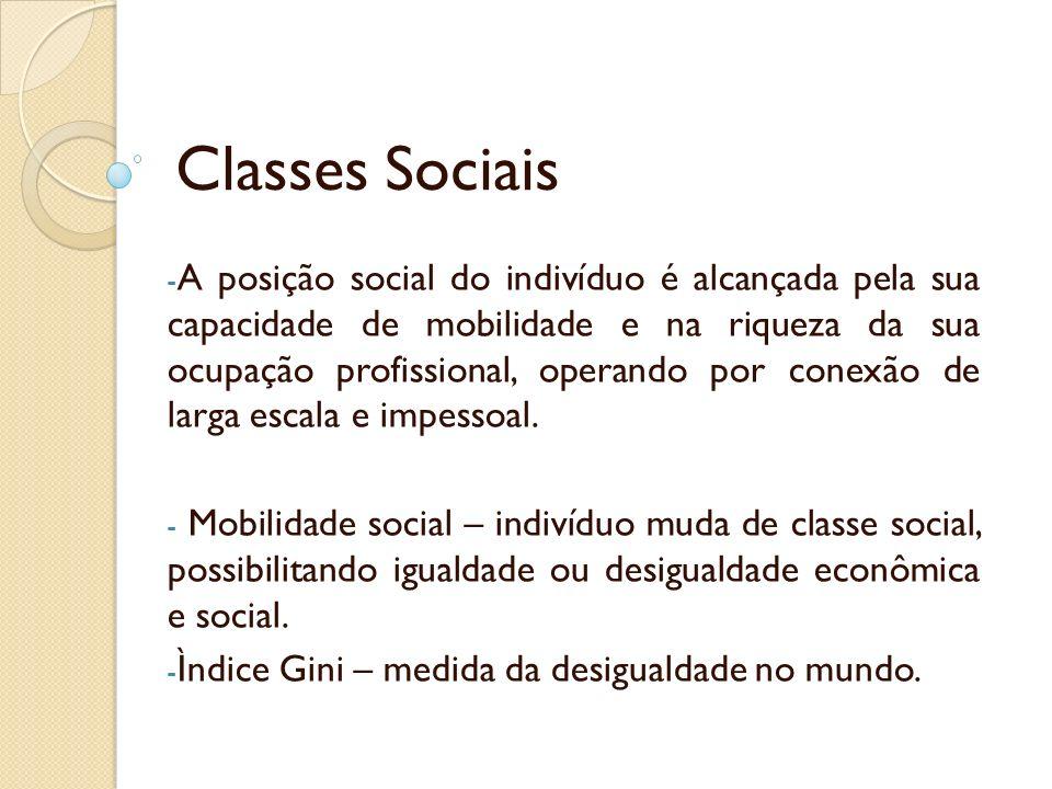 Classes Sociais - A posição social do indivíduo é alcançada pela sua capacidade de mobilidade e na riqueza da sua ocupação profissional, operando por conexão de larga escala e impessoal.