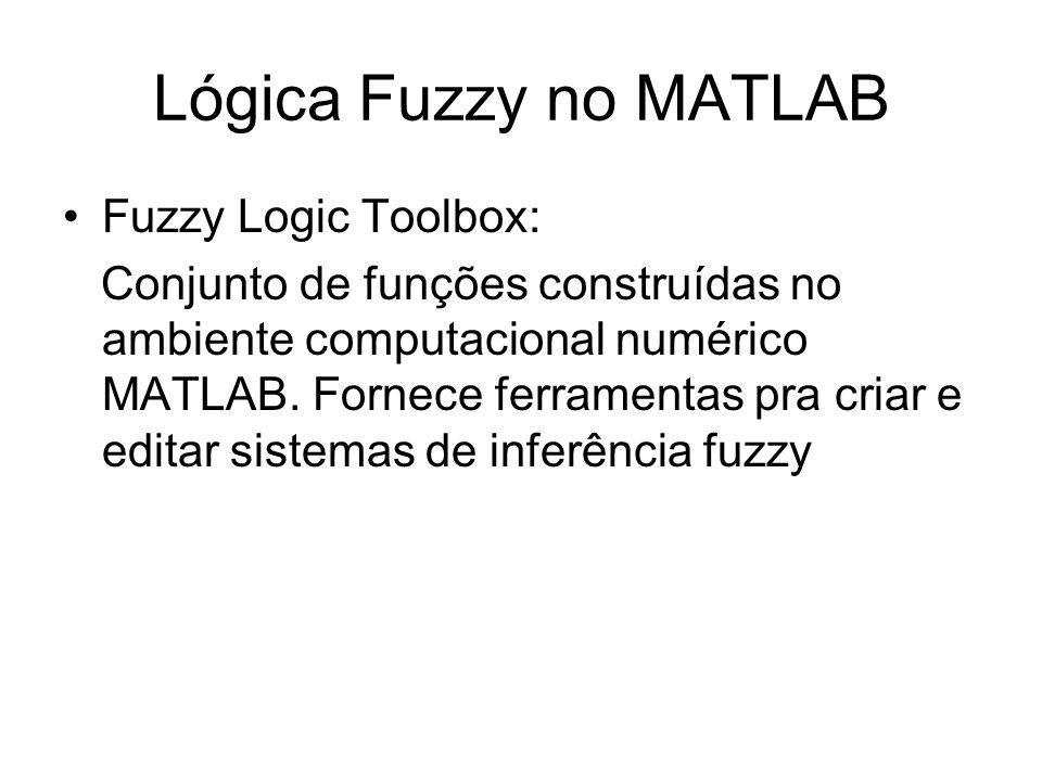 Lógica Fuzzy no MATLAB Fuzzy Logic Toolbox: Conjunto de funções construídas no ambiente computacional numérico MATLAB. Fornece ferramentas pra criar e