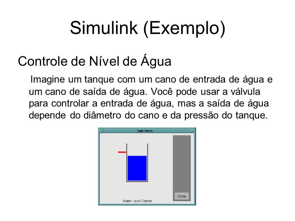 Simulink (Exemplo) Controle de Nível de Água Imagine um tanque com um cano de entrada de água e um cano de saída de água. Você pode usar a válvula par