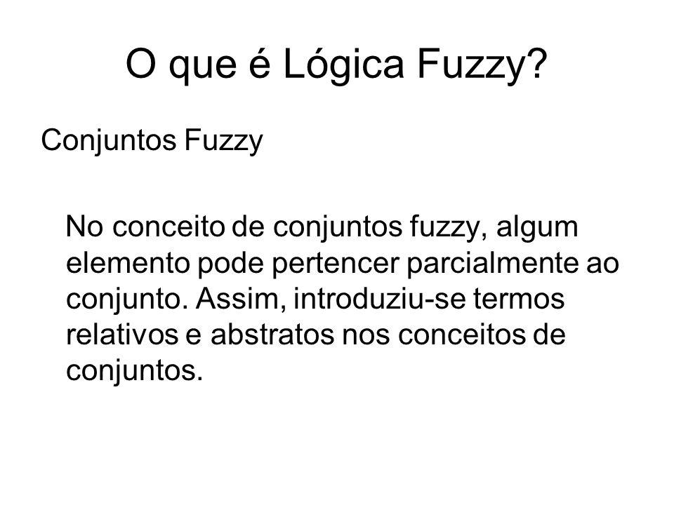 O que é Lógica Fuzzy? Conjuntos Fuzzy No conceito de conjuntos fuzzy, algum elemento pode pertencer parcialmente ao conjunto. Assim, introduziu-se ter