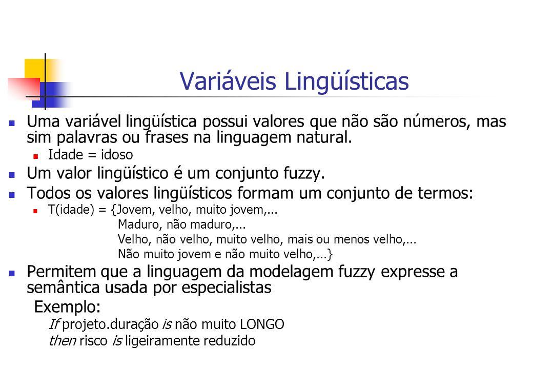Variáveis Lingüísticas Uma variável lingüística possui valores que não são números, mas sim palavras ou frases na linguagem natural. Idade = idoso Um