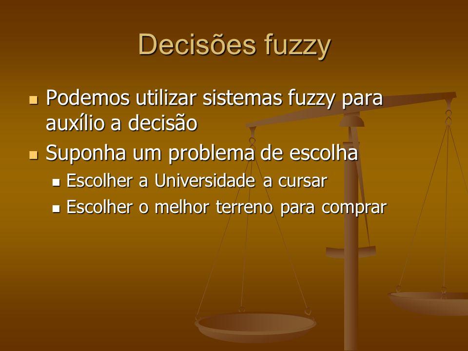 Decisões fuzzy Podemos utilizar sistemas fuzzy para auxílio a decisão Podemos utilizar sistemas fuzzy para auxílio a decisão Suponha um problema de es