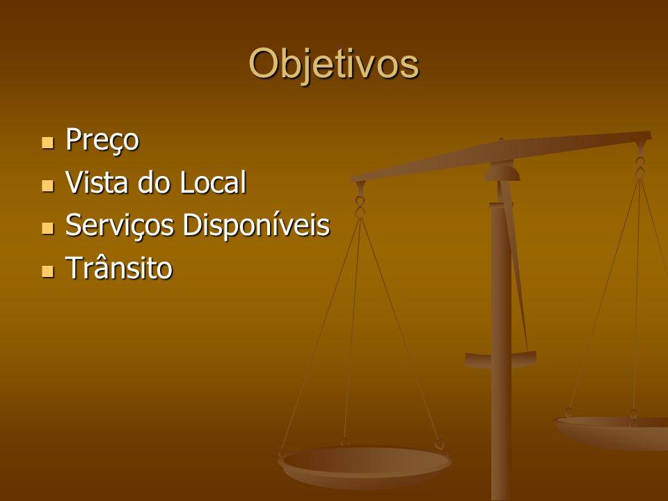 Objetivos Preço Preço Vista do Local Vista do Local Serviços Disponíveis Serviços Disponíveis Trânsito Trânsito