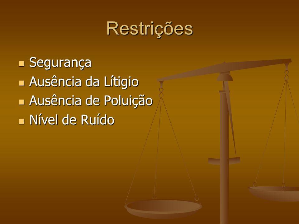 Restrições Segurança Segurança Ausência da Lítigio Ausência da Lítigio Ausência de Poluição Ausência de Poluição Nível de Ruído Nível de Ruído