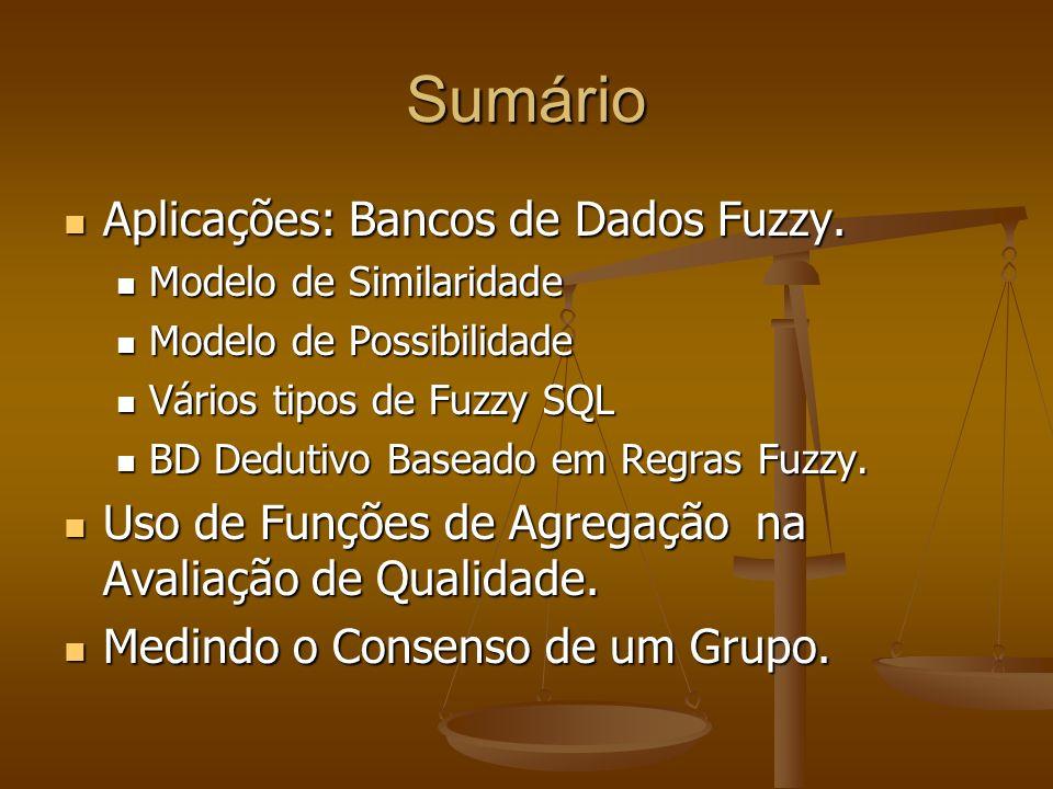 Sumário Aplicações: Bancos de Dados Fuzzy. Aplicações: Bancos de Dados Fuzzy. Modelo de Similaridade Modelo de Similaridade Modelo de Possibilidade Mo