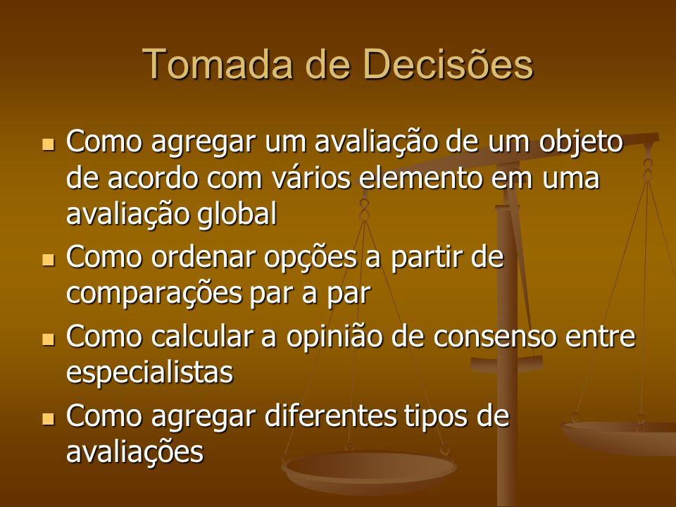 Tomada de Decisões Como agregar um avaliação de um objeto de acordo com vários elemento em uma avaliação global Como agregar um avaliação de um objeto