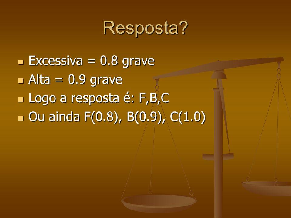 Resposta? Excessiva = 0.8 grave Excessiva = 0.8 grave Alta = 0.9 grave Alta = 0.9 grave Logo a resposta é: F,B,C Logo a resposta é: F,B,C Ou ainda F(0