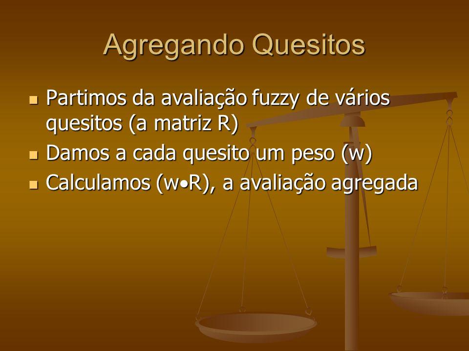 Agregando Quesitos Partimos da avaliação fuzzy de vários quesitos (a matriz R) Partimos da avaliação fuzzy de vários quesitos (a matriz R) Damos a cad