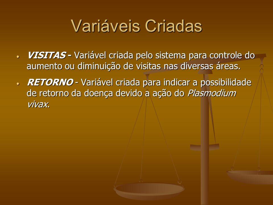 Variáveis Criadas VISITAS - Variável criada pelo sistema para controle do aumento ou diminuição de visitas nas diversas áreas. VISITAS - Variável cria